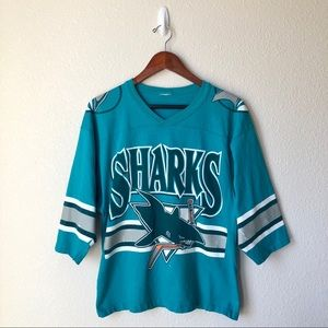 VTG Teal NHL San Jose Sharks Single Stitch T-Shirt